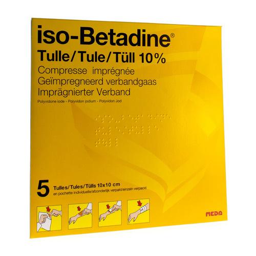 Iso-Betadine Tule 10 x 10 cm 10% (5 verbandgazen)