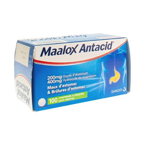 Maalox Antacid 200 Mg / 400 Mg (100 Comprimes a Croquer)