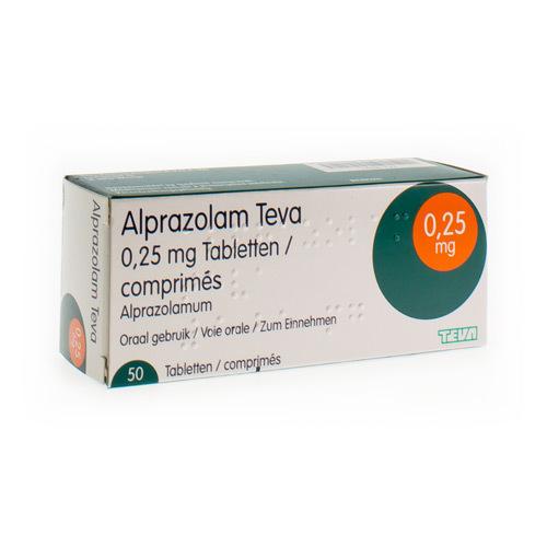 Alprazolam Teva 0,25 Mg  50 Comprimes