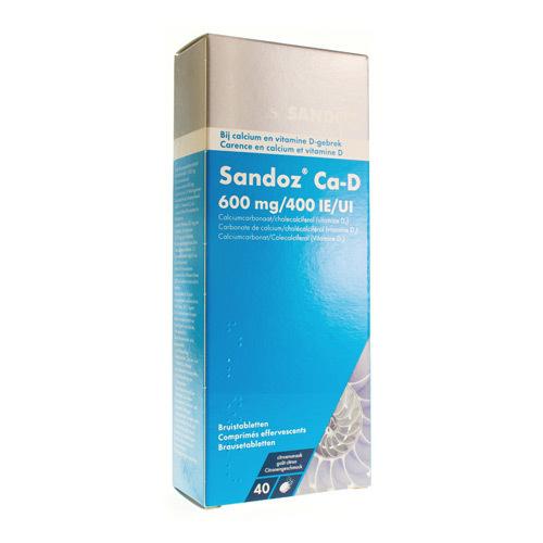 Ca-D Sandoz 600 Mg + 400 Ui  40 Comprimes Effervescents