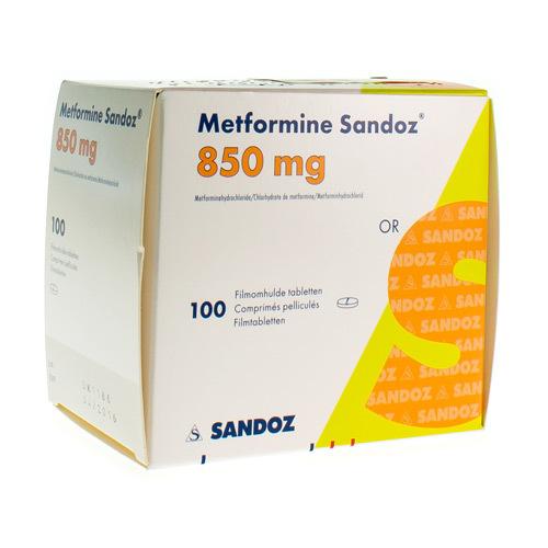 Metformine Sandoz 850 Mg (100 Tabletten)