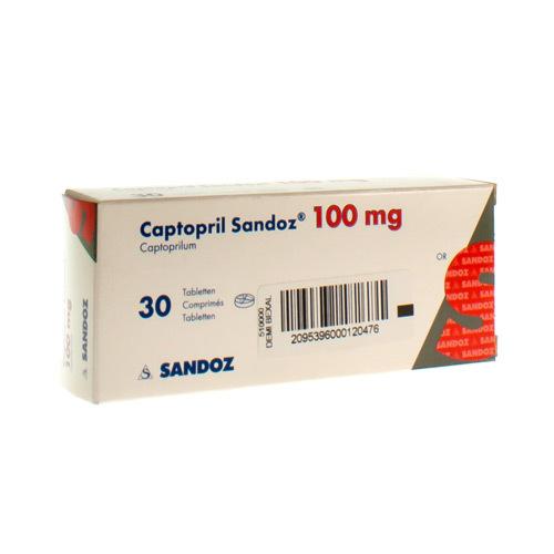 Captopril Sandoz 100 Mg  30 Comprimes