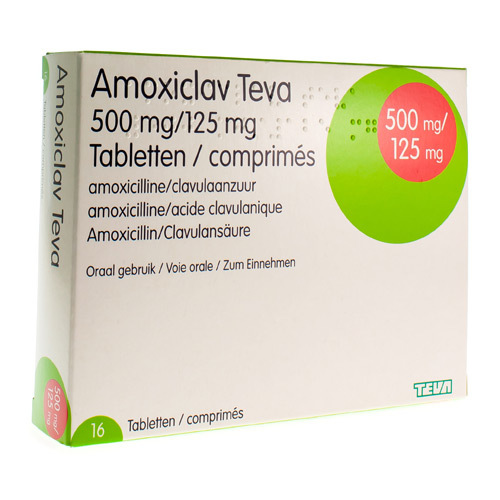 Amoxiclav Teva 500 Mg / 125 Mg  16 Comprimes