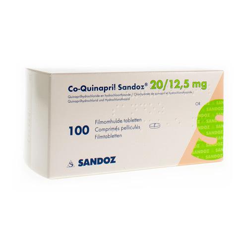 Co-Quinapril Sandoz 20 Mg / 12,5 Mg  100 Comprimes