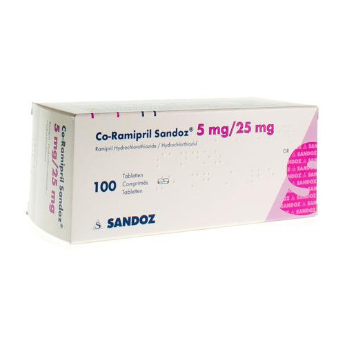 Co-Ramipril Sandoz 5 Mg / 25 Mg  100 Comprimes