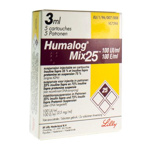 Humalog Mix25 Cartridge (5 X 3 Ml Cartouches)
