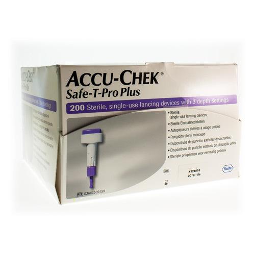 Accu-Chek Safe-T-Pro Plus Uno Sterile  200 Autopiquers Steriles