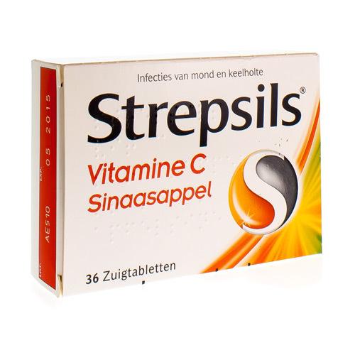 Strepsils Vit C Sinaasappel (36 Zuigtabletten)