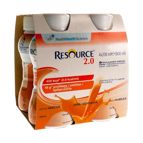 Resource 2.0 Abrikoos (4 X 200 Ml)