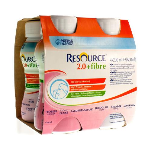 Resource 2.0 + Fibre Aardbei (4 X 200 Ml)