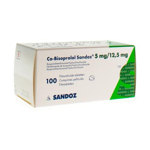 Co-Bisoprolol Sandoz 5 Mg / 12,5 Mg  100 Comprimes