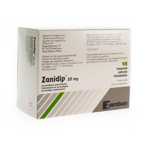 Zanidip Pi Pharma 20 Mg (98 Comprimes)