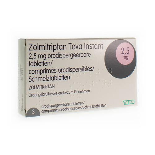 Zolmitriptan Instant Teva 2,5 mg Comp Orodisp 3