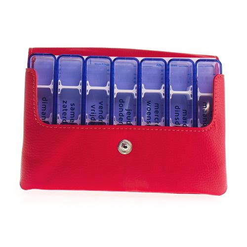 Medidose Leatherette Pilulier De Poche Rouge