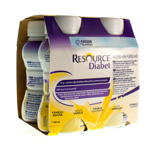 Resource Diabet Vanille (4 X 200 Ml)