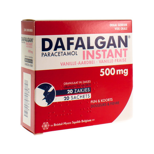Dafalgan Instant Vanille / Fraise 500 Mg  20 Sachets