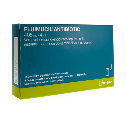 Fluimicil Antibiotic 405 Mg/4 Ml (3 Injectieflacons)