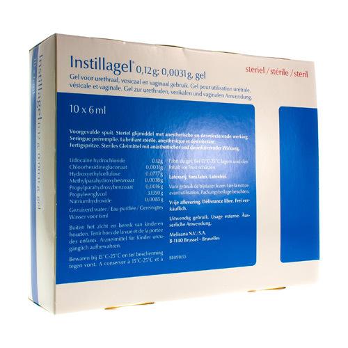 Instillagel 0,12 G / 0,0031 G (10 Seringues)