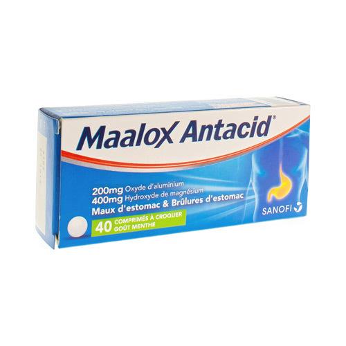 Maalox Antacid 200 Mg / 400 Mg (40 Comprimes a Croquer)